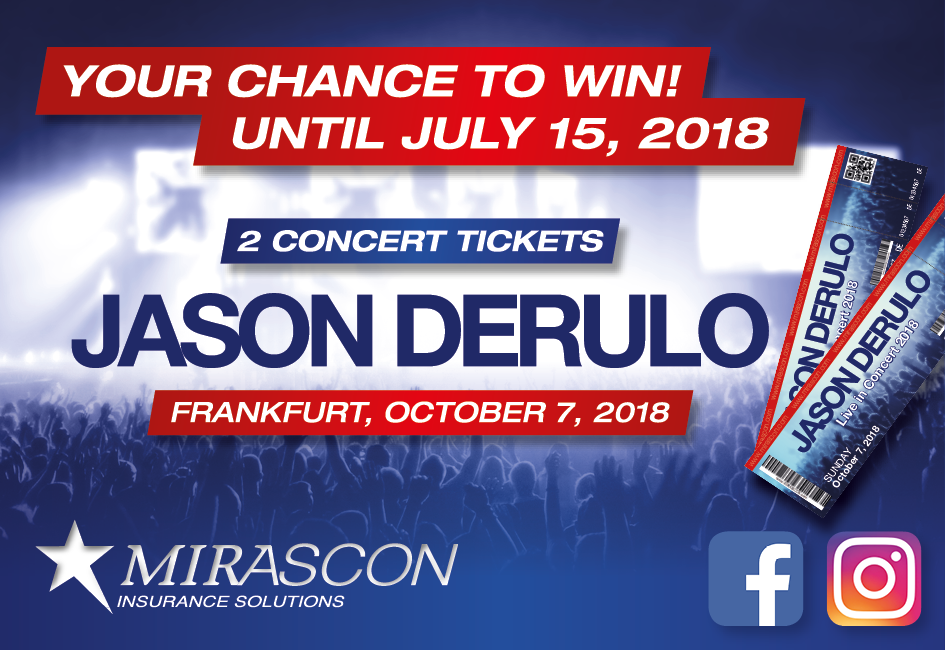 Jason Derulo in Concert – Try Your Luck And Win! – MIRASCON